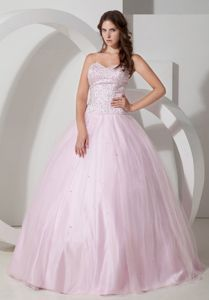 Baby Pink Sweetheart Floor-length Beading Quinceanera Gowns