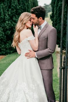 The sheen of this ballgown's Mikado fabric is topped with contrasting elegantly beaded lace appliques. Princess Wedding Dresses, Dream Wedding Dresses, Wedding Suits, Designer Wedding Dresses, Bridal Dresses, Bridesmaid Dresses, Allure Couture, Bridal And Formal, Beaded Lace