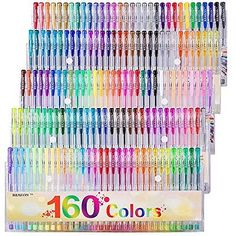 Gel Pens Colors Set, Reaeon 160 Unique Colored Gel Pen for Adults Coloring Books Drawing Art Markers Adult Coloring, Coloring Books, Coloring Pages, Coloring Set, Book Drawing, Drawing Art, Cute School Supplies, Cute Stationery, Stationary