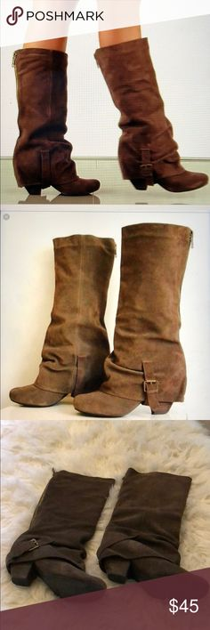 Naughty Monkey suede boots Good used condition boots.  Dark brown boots.  Signs of normal wear. naughty monkey Shoes Heeled Boots