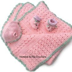 Couverture, bonnet, chaussons petites souris, ensemble naissance rose, personnalisation gratuite,