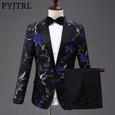 PYJTRL New Design Mens Stylish Embroidery Royal Blue Green Red Floral Pattern Suits Stage Singer Wedding Groom Tuxedo Costume. Product ID: Prom For Guys, Prom Suits For Men, Dress Suits For Men, Mens Suits, Men Dress, Groom Dress, Groom Tuxedo, Tuxedo Suit, Floral Blazer