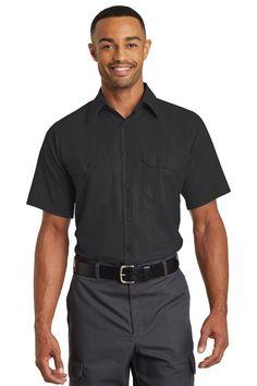 Red Kap Short Sleeve Ripstop Crew Shirt. SY20 Black/ Charcoal