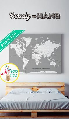 World map canvas with pins orange and blue colors countries custom large world map canvas gray white personalized gift 240 pins 198 world flag sticker pack included gumiabroncs Choice Image