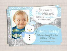 Winter ONEderland Boys Snowman Blue & Grey by MonkeyDoodleParties, $10.00
