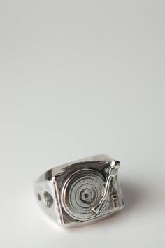 Old-School 33 LP Ring in .925 Silver by Bakutis. $110.00, via Etsy.