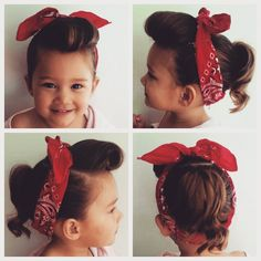 """Zahria's retro hairdo! #hairdonebyme  #toddlerhair #toddlerhairstyles #pinup #rockabilly #daughter"""