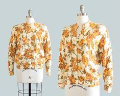 Vintage 1950s Sweater 50s DARLENE Rose Floral Print Wool Knit Cardigan Orange #Darlene