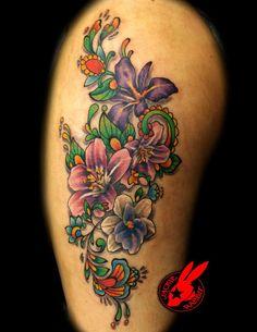 beautiful floral tattoo by Jackie Rabbit @ Star City Tattoo in Roanoke VA