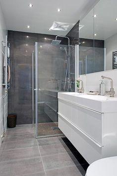 New Bath Room Tiles Shower Marble 22 Ideas Bathroom Glass Wall, Grey Bathroom Tiles, White Vanity Bathroom, Grey Tiles, Bathroom Shelves, Bathroom Colors, Big Bathrooms, Beautiful Bathrooms, Small Bathroom