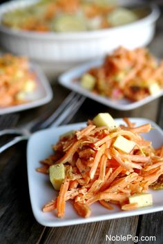 Tangy-Sweet Shredded Carrot Salad from NoblePig.com