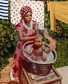 Bathing Baby by David Moore