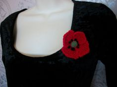 Small Poppy Brooch - Hand Knitted, £6.99
