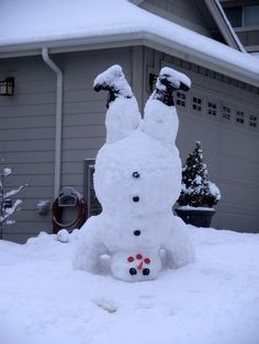 Upside down snowman with boots. ;)