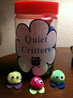 "Quiet critters- Basically, you make the quiet critters with a pom-pom, heart-shaped foam piece (for the feet) and mini wiggle eyes. I tell my students that my ""quiet critters"" need a friend to take care of them, but they only can survive/like QUIET friends. GUESS WHAT? Instantly quiet class. The kids love them."