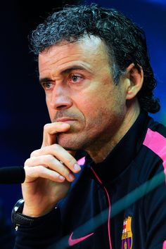 Head coach Luis Enrique of FC Barcelona speaks to the media during a press conference ahead of their UEFA Champions League round of 16 match against Manchester City at Ciutat Esportiva on March 17, 2015 in Barcelona, Catalonia.