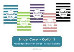 Binder Cover and Spine Printables - Home Organisation - Household Binder - 3 sheets. $3.00, from AllAboutTheHouse - Etsy  https://www.etsy.com/listing/120434051/binder-cover-and-spine-printables-home