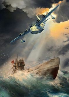 British Short Sunderland zeroes in on its prey, a German U-boat. Amphibious Aircraft, Ww2 Aircraft, Military Aircraft, Aviation Theme, Aviation Art, Boat Drawing, War Thunder, Aircraft Painting, Airplane Art