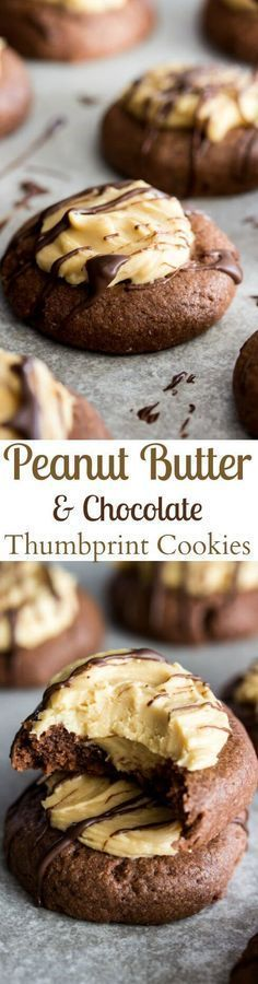Chocolate Peanut Butter Thumbprints || Sugar Spun Run via @sugarsunrun