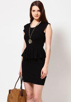 French-Connection-Round-Neck-Short-Sleeve-Black-Peplum-Dress