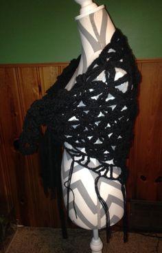 Black Flower of Life Crocheted Shawl by CraftyCrochet4Today