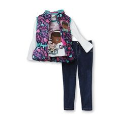 Amazon.com: Disney Doc McStuffins Toddler Girl's Vest, Shirt & Jeans Set: Clothing