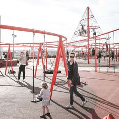 """enochliew: """"Park'n'Play by JaJa Architects 24 meters above sea level, with a view of Copenhagen's harbour, sits a bright red playground atop a car park. """""""
