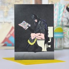 Batman on the Toilet greetings card