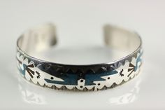 Native American Navajo .925 Sterling Silver Turquoise & Coral Chip Inlay Cuff Bracelet by LoudCrowTradingCo on Etsy