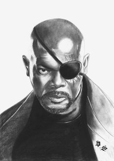 Diego Septiembre - Original Charcoal and Graphite Drawing - Nick Fury Avengers Drawings, Avengers Art, Nick Fury, Amazing Drawings, Realistic Drawings, Marvel Fight, Graphite Drawings, American Comics, Marvel Comics Art