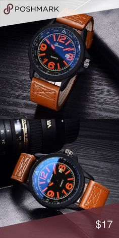 New Men's Sports Watch with Leather band New In Plastic. LAST ONE Accessories Watches