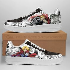 Fullmetal Alchemist Air Anime Shoes Shoes Fan Gift Idea TT04-GearAnime Nmd Sneakers, Grey Sneakers, Custom Sneakers, Nike Shoes Air Force, Top Shoes, Shoe Collection, Fullmetal Alchemist, Fashion Shoes, Tracking Number