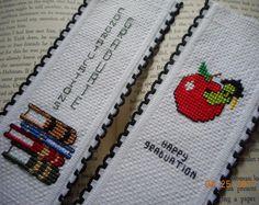 cross stitch bookmark set of 2 GRADUATION  bookmarks Congratulations Graduate books Happy Graduation worm in cap   aida riband bookmark