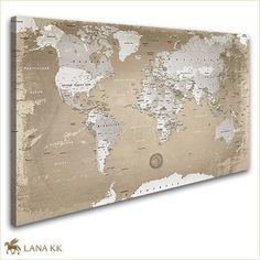 Leinwand Bild Weltkarte Natur