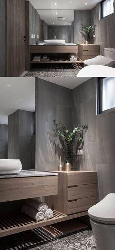 Small Bathroom With Shower, Modern Bathroom Design, Bathroom Interior Design, Spa Inspired Bathroom, Modern Bathroom Lighting, Dream Bathrooms, Bathroom Renovations, Bathroom Inspiration, House Design