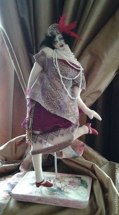 """Купить """"Чарльстон"""" Арт-деко. Интерьерная текстильная кукла - фуксия, кукла, подарок"""