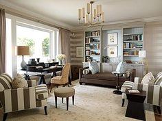 Sarah Richardson Design…she's one of my favorite interior designers – Home Office Wallpaper Sarah Richardson, Desk In Living Room, Home And Living, Living Spaces, Living Rooms, Family Rooms, Mud Rooms, Kitchen Living, Living Area