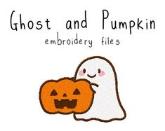 Ghost and Pumpkin - Flea Circus Designs Free Motion Embroidery, Cute Embroidery, Learn Embroidery, Free Machine Embroidery Designs, Embroidery Files, Pumpkin Tattoo, Download Digital, Halloween Embroidery, Cute Ghost