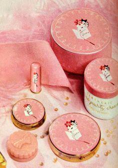 "Lenthéric ""Pink Party"" Cosmetics, 1942 Vintage Makeup, Vintage Vanity, Vintage Perfume, Vintage Beauty, Vintage Fashion, Retro Makeup, Vintage Bottles, Vintage Advertisements, Vintage Ads"