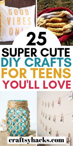 Need some diy stuff for teens? These easy diy for teen crafts are fun to make, absolutely gorgeous so you should give them a try. # Easy DIY for teens 25 Super Cute DIY Crafts for Teens You'll Love Cute Crafts For Teens, Diy Crafts For Teen Girls, Fun Easy Crafts, Diy Arts And Crafts, Diy Projects For Teens, Diy For Teens, Teen Diy, Fun Things To Make For Teens, Craft For Tweens