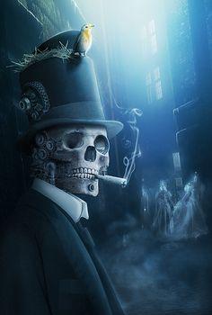 SlashThree XII SteamPunk __ Old London Memories by Aiven - Yvan Feusi, via Behance Dark Fantasy, Fantasy Art, 2560x1440 Wallpaper, Steampunk Artwork, Old London, Gothic Art, Gothic Horror, Grim Reaper, Halloween Art