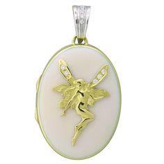 18k yellow and white gold enamel  pendant locket with diamonds