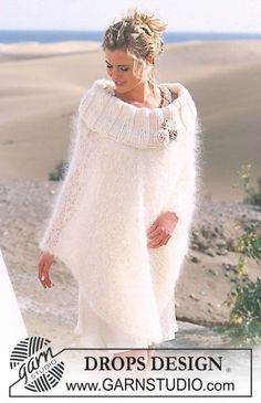 "Poncho DROPS en ""Vienna"" y ""Eskimo"", con flores en ganchillo / crochet en ""Cotton Viscose"". ~ DROPS Design"