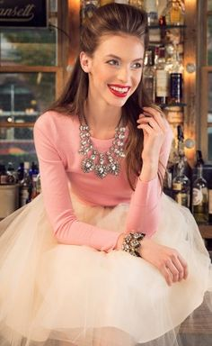 Statement necklace + tulle skirt + pink sweater