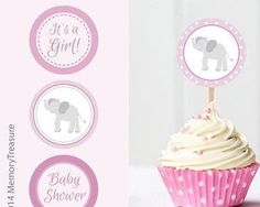 Elephant Baby Shower Cupcake Toppers Printable Baby Shower Cup Cake Toppers Cupcake Decorations Girl Baby Shower It's a Girl Elephant Theme - http://babyshower-cupcake.com/elephant-baby-shower-cupcake-toppers-printable-baby-shower-cup-cake-toppers-cupcake-decorations-girl-baby-shower-its-a-girl-elephant-theme/