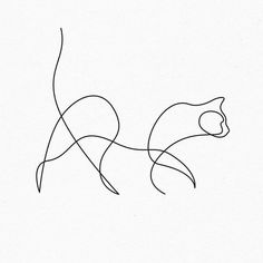 Different: you draw with one stroke and on this . - Anders: You draw with one stroke and on this … – - One Line Animals, Redwood Tattoo, Minimalist Tattoo Meaning, Minimalist Cat Tattoo, Minimalist Design, Minimalist Drawing, Minimal Tattoo, Paris Tattoo, Delicate Tattoo
