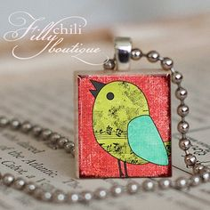 Scrabble Necklace Charm  SONG BIRD Red & Green  by FrillyChili, $6.95