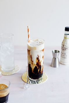 Kahlua Coffee Soda --- espresso, Kahlua, and a splash of soda combine for a refreshingly fizzy, boozy, creamy cocktail. // This will either be delicious or disgusting but it sure looks amazing. Iced Coffee, Coffee Time, Coffee Drinks, Starbucks Coffee, Coffee Shop, Coffee Maker, Coffee Machine, Cinnamon Coffee, Coffee Barista