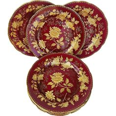 """Beautiful English Wedgwood 1930's Tonquin' Ruby Red 10-3/4"""" Large Set of 6 Dinner Plates from LA Bazaar on Ruby Lane"""