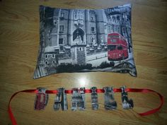 Matching cushion and name banner